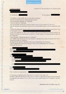 certificat de nationalité française.